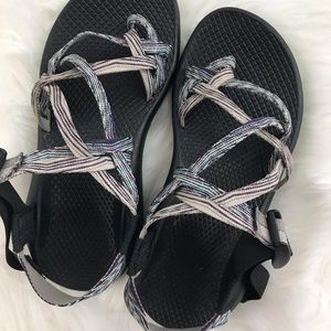 Chaco Shoes - Chaco Sandals Black Lime Purple and Pink